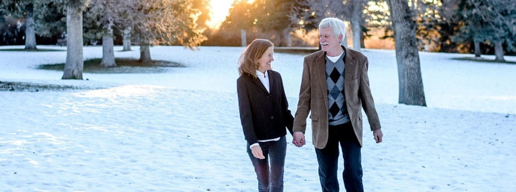 Husband and wife, Mary & Gary on a winter stroll